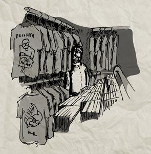 Dibujo de un hombre mirando camisetas en una tienda de discos.